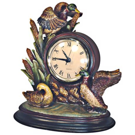 "Mallard Ducks 9"" High Tabletop Clock"
