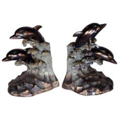 Set of 2 Dolphin Bookends
