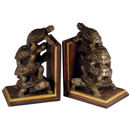 Set of Two Bronze Turtle Bookends