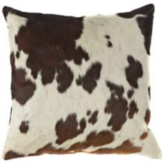 Leather Brown Ecru Pillow