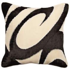 Black and White Big Swirl Pillow