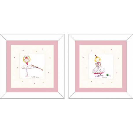 Set of 2 Princess and Ballet Dancer Wall Art Prints