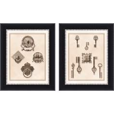 Set of 2 Keys and Latches Wall Art Prints