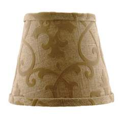 Tan Linen Flocked Lamp Shade 8x14x10.25 (Spider)