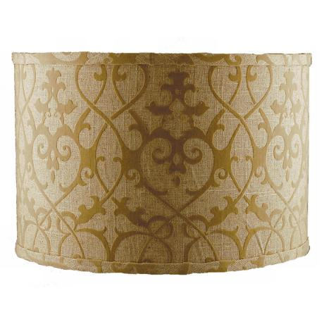 Tan Linen Flocked Lamp Shade 14x14x11 (Spider)