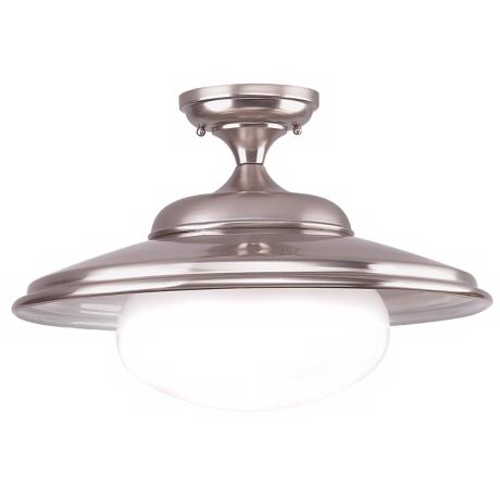 "Independence Collection 19"" Wide Satin Nickel Ceiling Light"