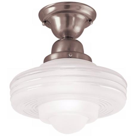 "Diner 10"" Wide Satin Nickel Ceiling Light"
