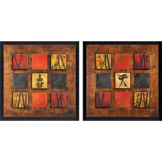 Set of 2 Red Square Wall Art Prints