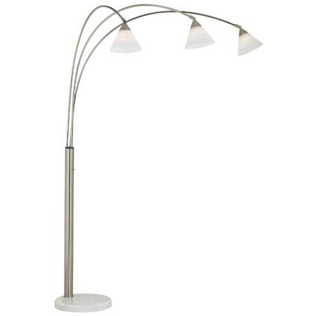 Archway 3-Light Glass Shade Arc Floor Lamp Brushed Steel