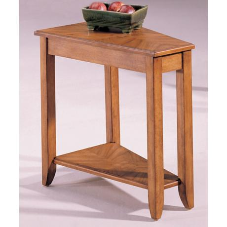 Beck Wedge Oak Finish Chairside Table