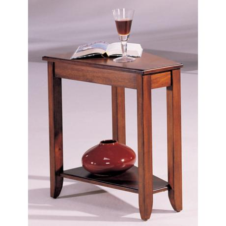Beck Wedge Cherry Finish Chairside Table