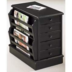 Multifunction Black Storage/Magazine Chairside Table