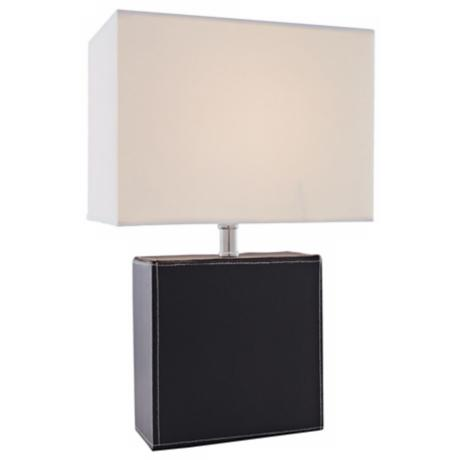Lite Source Black Leather Rectangular Table Lamp