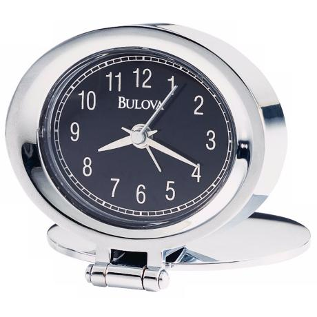 "Bulova Chrome Adamo 2 3/4"" Wide Clock"