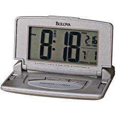 "Bulova Titanium Digital 4"" Wide Travel Clock"