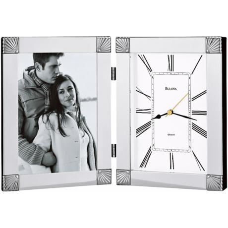 "Bulova Ceremonial Photo Frame 12 1/2"" Wide Clock"