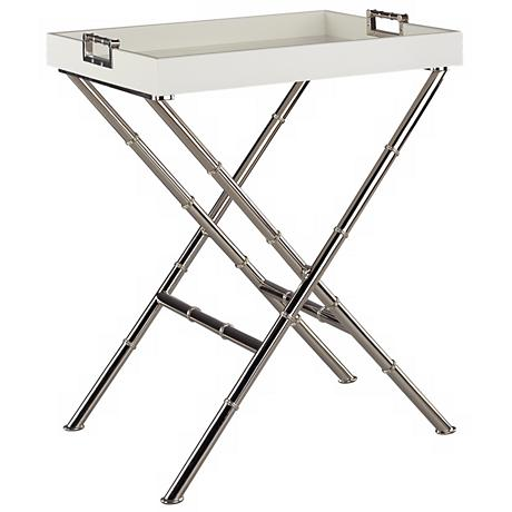 Jonathan Adler Meurice Polished Nickel Butler Tray Table
