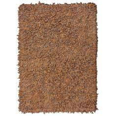 Leatherini Brown Shag Area Rug