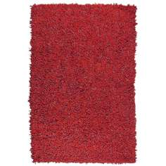 Leatherini Red Leather Shag Area Rug