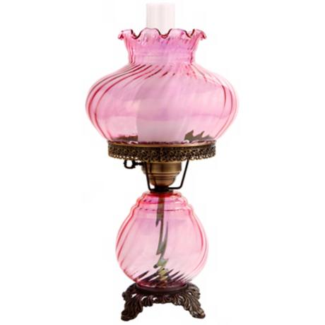 Pink Swirl Optic Shade Night Light Hurricane Table Lamp