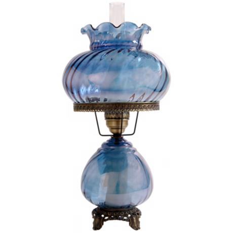 Large Blue Swirl Optic Night Light Hurricane Table Lamp