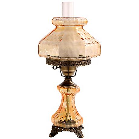 Large Amber Rhombus Night Light Hurricane Table Lamp