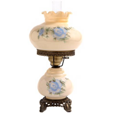 Small Blue Rose Night Light Hurricane Table Lamp