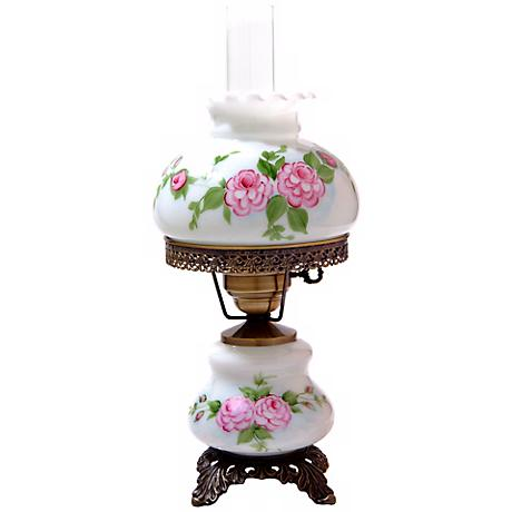 Pink Red Roses Small Hurricane Night Light Table Lamp