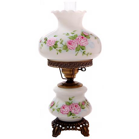 Pink Red Roses Medium Hurricane Night Light Table Lamp