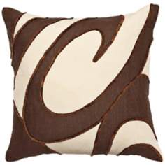 Chocolate Ecru Swirls Pillow