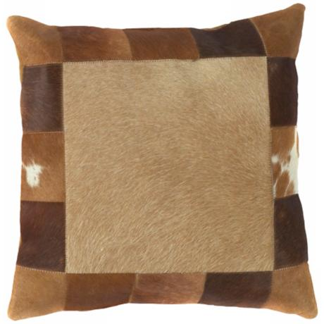 Brown Leather Hide Square Pillow