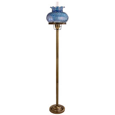 Lilac Blue Student-Style Large Glass Hurricane Floor Lamp