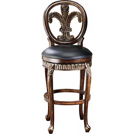 "Hillsdale Fleur de Lis Swivel 31"" High Bar Stool"