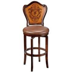 "Hillsdale Lyon Floral Swivel 30 1/2"" High Bar Stool"
