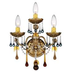 Schonbek Heirloom Gold Crystal Glass Wall Sconce