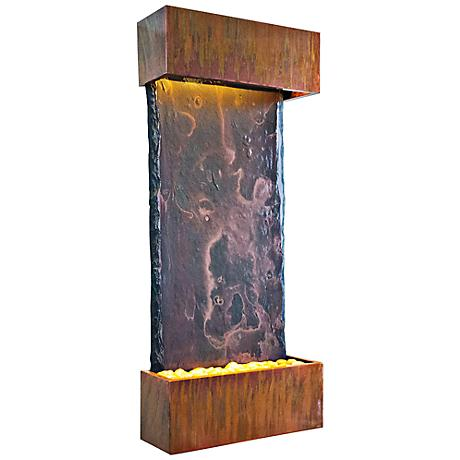 Patina Copper Medium Nojoqui Falls Fountain with Light