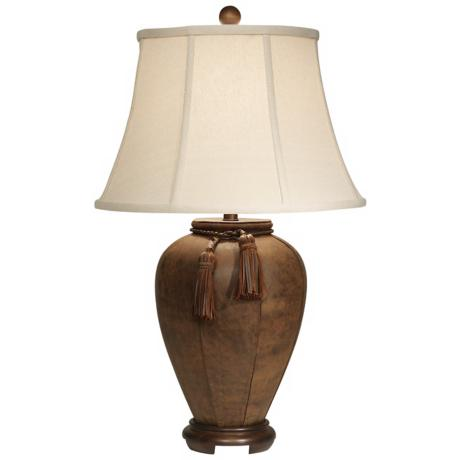 Suede Wood Table Lamp