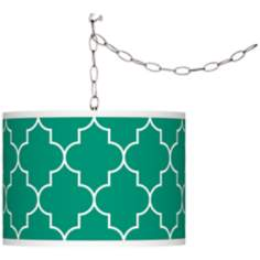 Tangier Emerald Green Giclee Shade Plug-In Chandelier