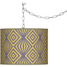 Swag Style Deco Revival Giclee Shade Plug-In Chandelier