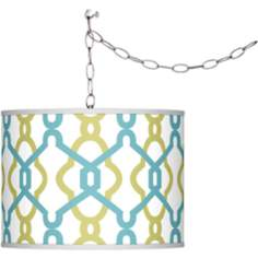 Swag Style Hyper Links Giclee Shade Plug-In Chandelier