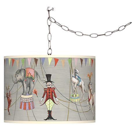 Circus Time Shade Plug-In Swag Chandelier