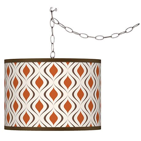 Retro Lattice Swag Style Giclee Shade Plug-In Chandelier
