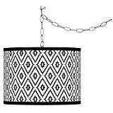 Swag Style Black Diamonds Giclee Shade Plug-In Chandelier