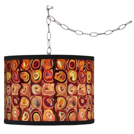 Swag Style Vibrating Colors Giclee Plug-In Chandelier