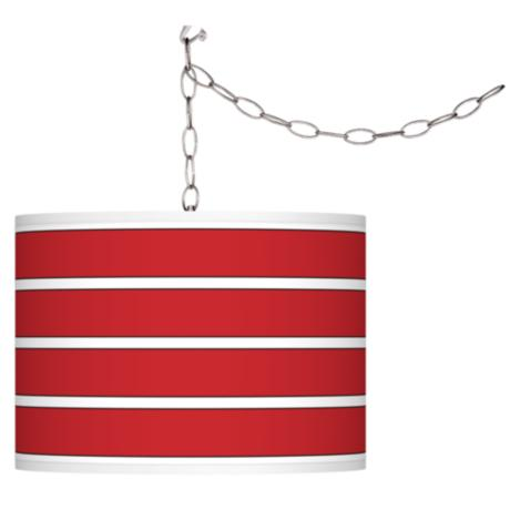 Swag Style Bold Red Stripe Shade Plug-In Chandelier