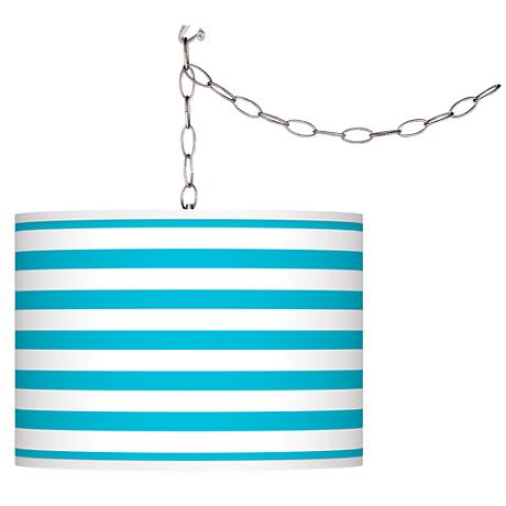 Swag Style Aqua Horizontal Stripe Shade Plug-In Chandelier