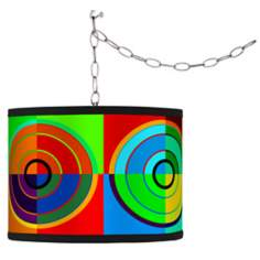 Swag Style Circle Parade Shade Plug-In Chandelier
