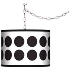 Swag Style Black Orbs Shade Plug-In Chandelier