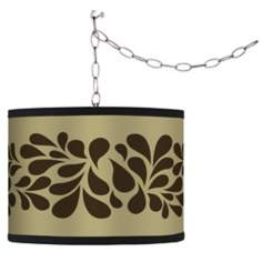 Swag Style Brown Splash on Tan Shade Plug-In Chandelier