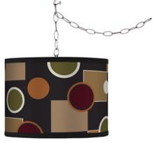 Swag Style Retro Medley Shade Plug-In Chandelier